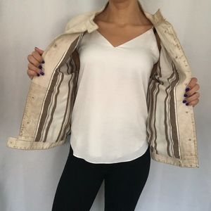 VTG Tory Burch Ivory Gold Distress Suede Jacket